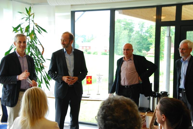 God stemning da Jonas Gahr Støre tilsa 1 million til HUNT forskningssenter. Fra venstre Jonas Gahr støre, Ingvild Kjerkol,  Trond Giske, Stig Slørdahl, Kristian Hveem