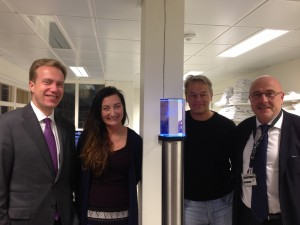 Mr. Børge Brende, the Minister of Foreign Affairs together with May-Britt Moser, Edvard Moser and the Dean at the The Faculty of Medicine, NTNU, Stig Slørdahl.