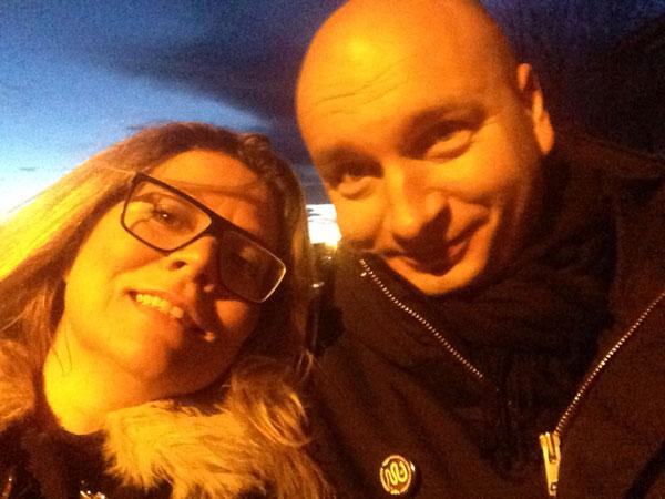 """Trøtte, men blide: """"Selfie"""" av meg med Arild Domaas i Kreftforeningen"""