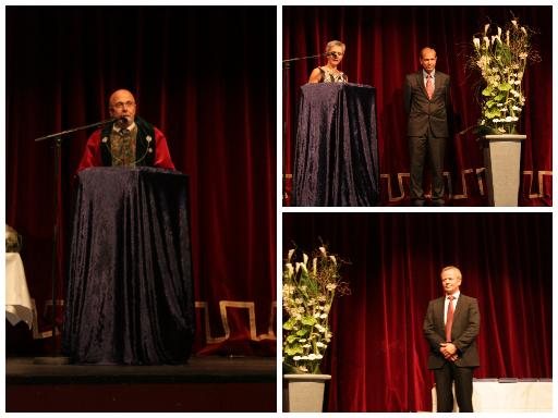 Til venstre: dekan Stig Arild Slørdahl hilser de nye kandidatene. Øverst til høyre: Jan Pål Loennechen Neders til venstre: Nils Martinsen