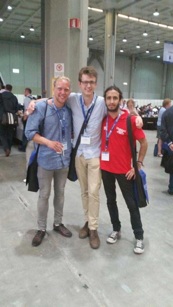 Studentrådet DMF med Matteo Cavagnacchi (t.h.), medisinstudent frå Italia.