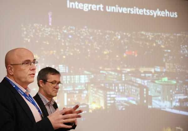Dekan Stig Slørdahl ved NTNU og administrerende direktør Nils Kvernmo ved St. Olav