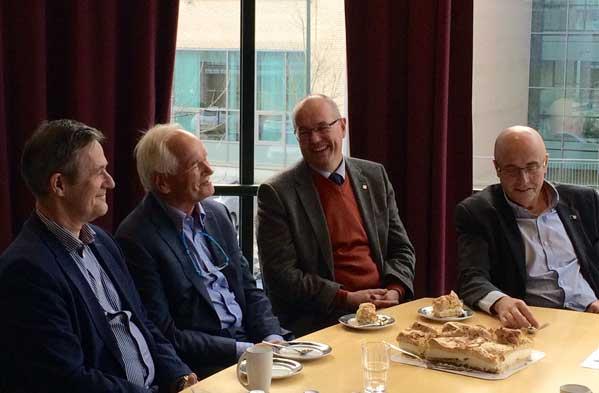 Nils Kvernmo, Trond Mohn, Gunnar Bovim og Stig Slørdahl.