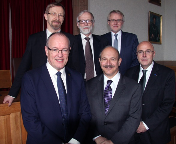 Professor Bruce Beutler (in the middle) at the honorary Doctorate ceremony March 20th with Professors Magne Børset, Anders Waage, Terje Espevik, rector Gunnar Bovim and Dean at Faculty of Medicine Stig Slørdahl.