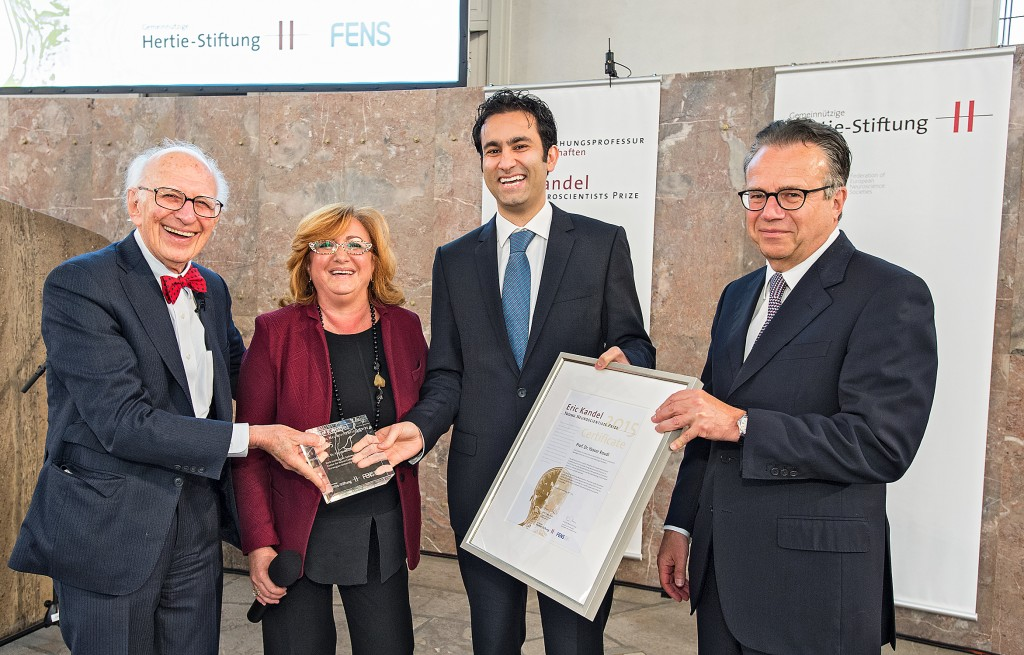 Yasser Roudi receives the 2015 Eric Kandel Young Neuroscientists Prize in Frankfurt.