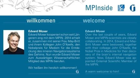 web page notification of Edvard Mosers appointment to Max Planck