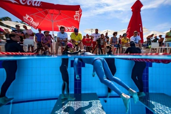 Freediving competition.