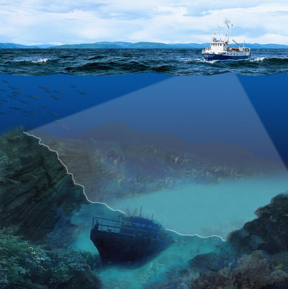 Fig. 1: Illustration of seabed mapping with a Multi-beam echo sounder (Courtesy of Kongsberg Maritime)