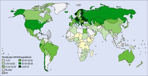 The picture shows the density of surgeons per 100.000 Population.