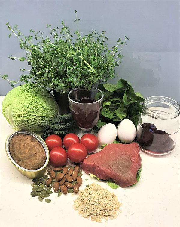 Bilde av jernrike matvarer.