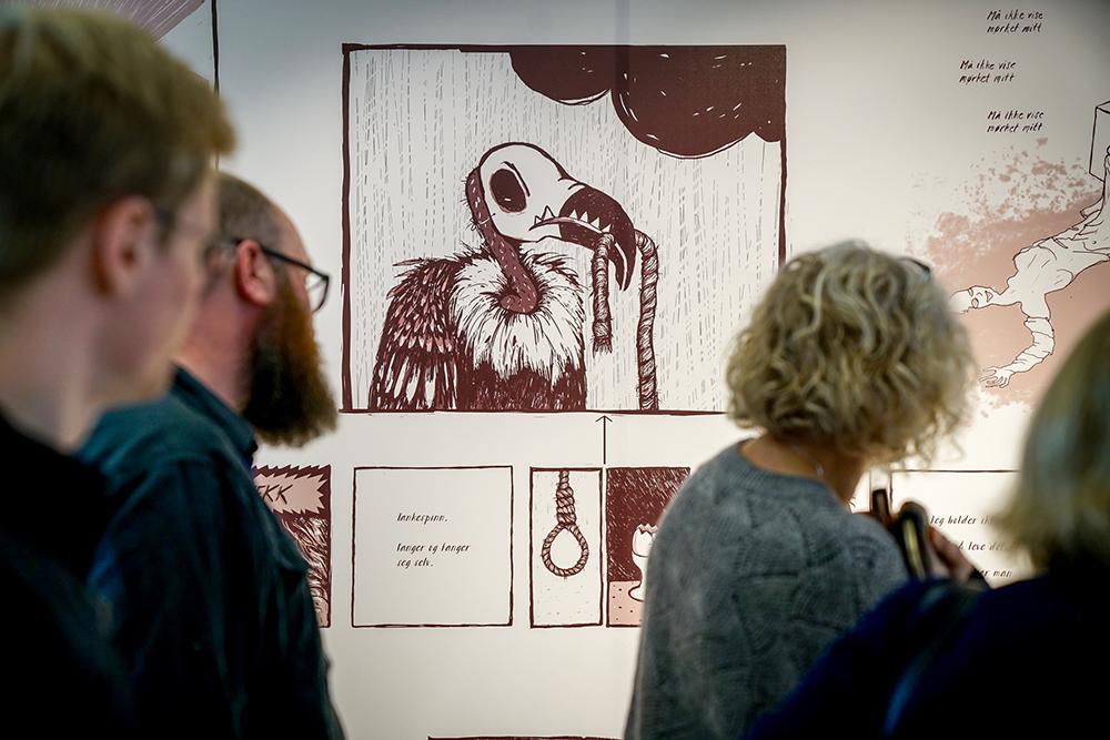 Fra utstillingen U;REDD. Illustrasjon Nina Eide Holtan og Marte Huke. Foto: Geir Otto Johansen.