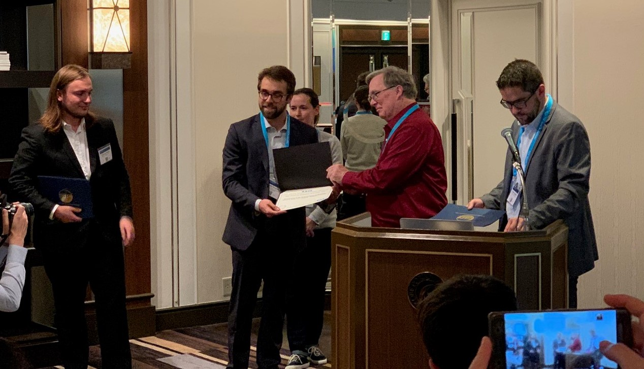 PhD candidate Stefano Fiorentini receives the second-best award in the 2018 IEEE IUS SA-VFI Challenge.