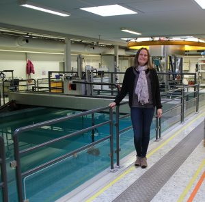 Ellen in the lab at Kongsberg Maritime Subsea
