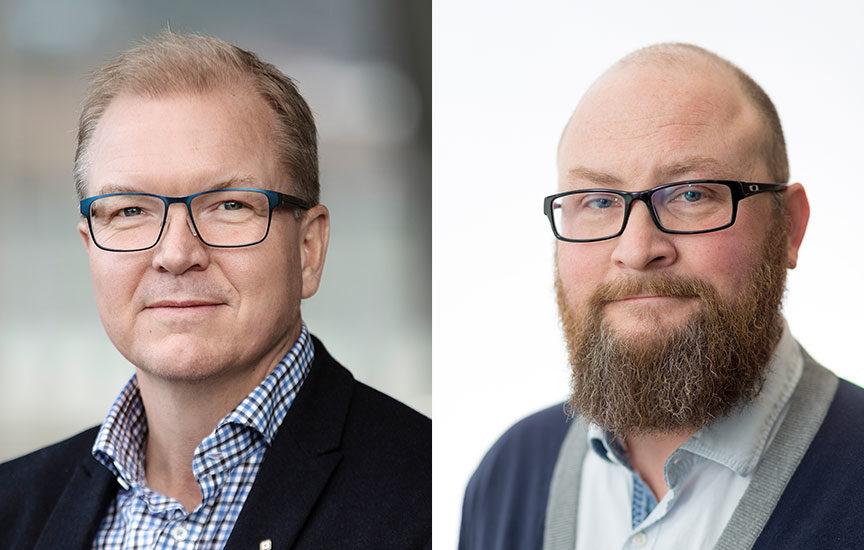 Portrettbilder av Björn Gustafsson, og Arild Skaug Hansen.