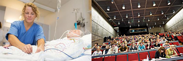 sammensatt bilde av sykepleier og forelesningssal